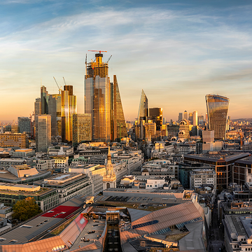 London skyline as seen from above, at sunset