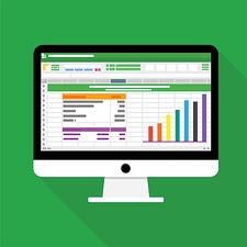 An excel spreadsheet graphic with a green background