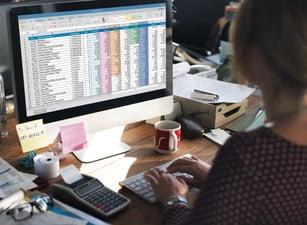 a person entering data into a spreadsheet on a computer