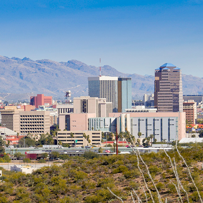 The Tucson Arizona City Skyline